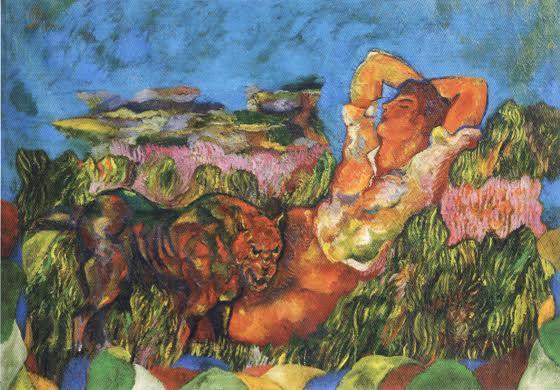 Leave the Artist Alone, Sandro Chia, 1985. Orfeus'tan beri Arkadyalı (Eski Yunanistan'da sade ve mesut bir ırkın oturduğu rivayet edilen dağlık bir ülke, cennet hayatı yaşanan kırlar, kırsal cennet; Mora Yarımadası'ndaki dağlık bölge) sanatçıya mitik yaratım gücü ve vahşi hayvanı uysallaştırma gücü verme ile ilgili bir tablo. Sandro Chia, büyük İtalyan ustalarının resimlerini de mizahi bir bakışla yeniden ele alır. Fotoğraf:www.artnet.com