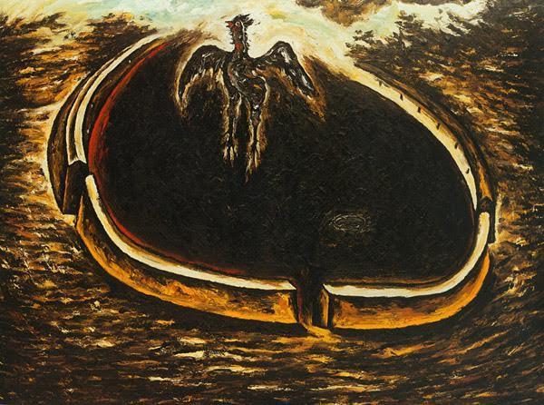 İl vento dei galli neri, Enzo Cucchi, 1983. Enzo Cucchi, betimlemenin önemli olmadığını, meselenin enerji meselesi olduğunu söylemiş. Cucchi, manzara çağrışımlı soyut mekanlar içinde figürlere yer verir. Yerel geleneklerden ve efsanelerden beslenen simgeci bir ifade benimsemiştir. Fotoğraf:nga.gov.au