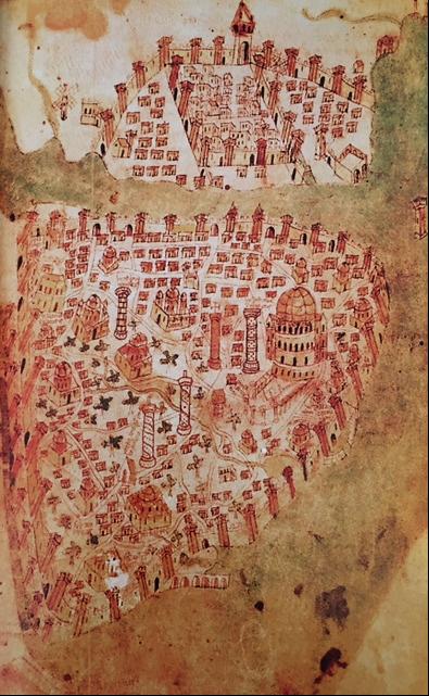 Konstantinopolis ve Ceneviz kenti Pera'nın taslağı, Christoforo Buendelmonti, 1428. Başka bir çok versiyonu bulunan bu çizim, Osmanlı fethinden öncesine ait tek çizimdir. Londra'da British Library'de bulunmaktadır. Fotoğraf: İstanbul İmparatorluklar Başkenti, Stefanos Yerasimos, Tarih Vakfı Yurt Yayınları.