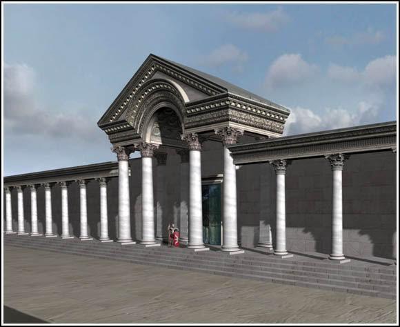 532 Nika İsyanından sonra inşa edilen Senato'nun anıtsal kapısının canlandırması, Justinyen dönemi tarihçisi Prokopius'un betimlemelerine göre yapılmıştır. Fotoğraf:www.byzantium1200.com/es.html