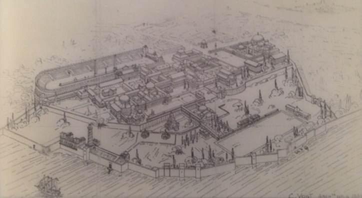 A. Vogt'un Büyük Saray'ı yeniden kurma denemesi. İstanbul Arkeoloji Müzeleri. Fotoğraf: Füsun Kavrakoğlu