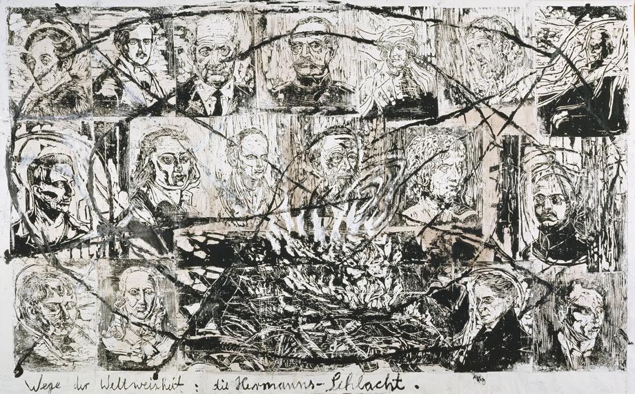 """Wege der Weltweisheit: die Hermanns-Schlacht, Anselm Kiefer, 1978. Kiefer'den bir alıntı: """"Heidegger gibi parlak bir zekanın Nazilere yakınlık duyması, toplumsal anlamda bu kadar sorumsuz olması nasıl olabilir? Céline'de de aynı sorun var: sefil bir Yahudi düşmanı ama harika bir yazar. Bir resmimde Heidegger'in beyninde büyüyen mantarımsı bir ur resmettim. Genel olarak düşüncelerdeki çelişikliği ifade etmek istiyorum. Çelişki, sanatımın ana temasıdır. Almanya kadar çelişkilerle dolu başka bir yer yoktur. Nietzsche ve Heine, Almanya'nın çelişkilerine yönelik duygularını, Almanya'ya duydukları nefretle ifade etmişlerdir. Ben de sanatımda tıpkı Heine gibi, hem Alman entelektüelliğini, hem Yahudi ahlakını aynı anda ifade etmek istiyorum. Sanatın sorumluluk alması gerektiğine, ama bunu yaparken sanat olmaktan çıkmaması gerektiğine inanıyorum. Minimalizm kadar saf bir sanatın içeriğe zarar verdiğini düşünüyorum. Sanatın mutlaka bir içeriği olmalıdır. Benim sanatımın içeriği çağdaş olmayabilir ama politik ve eylemcidir. Bence sanat, sanatın dışındaki olgulara tepki verdiğinde en iyiye ulaşır."""" Fotoğraf:art.db.com"""