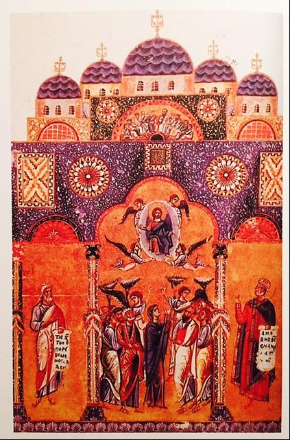 Kutsal Havariler Kilisesi'ni tasvir eden 12. yüzyıl minyatürü. Fotoğraf: İstanbul'un 100 Roma, Bizans Eseri, Kültür A.Ş. Yayınları
