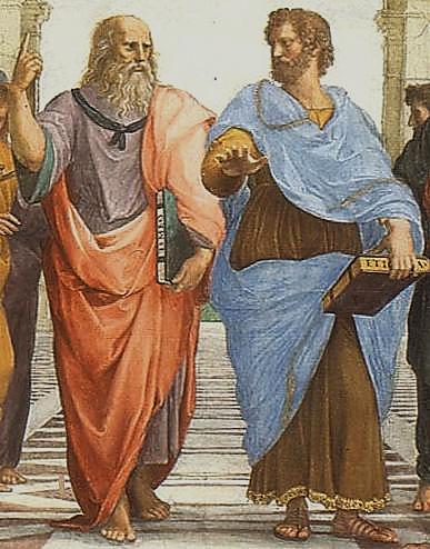 Raphael'in Atina Okulu adlı tablosunun (1509) merkezinde yer alan Platon (solda) ve Aristo (sağda). Fotoğraf:kulturakademietexphil.wordpress.com
