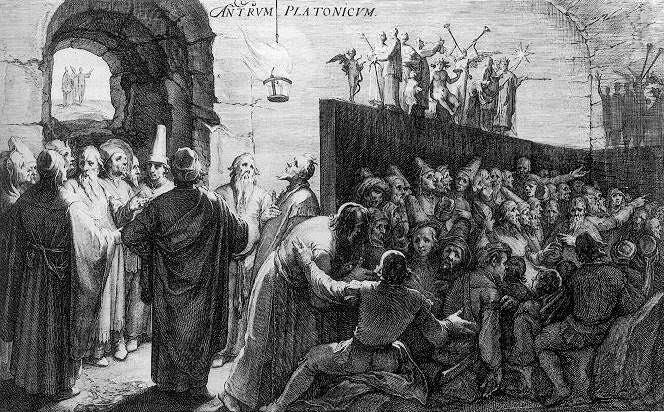 Platon'un Mağara Alegorisi üzerine bir 16.yüzyıl gravürü, University of London, Warburg Institution. Fotoğraf: www.ideayayinevi.com