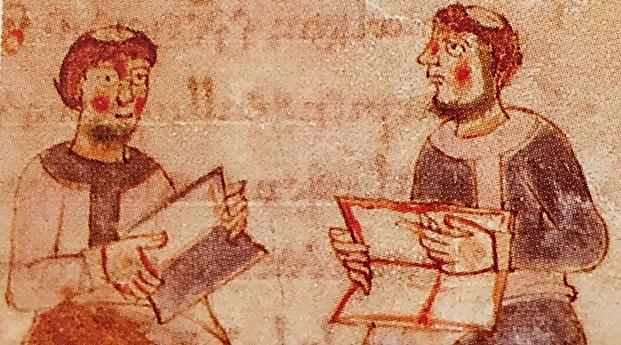 Bizans ansiklopedisi Suda 995 yılına aittir. Suda, Suidas adlı bir yazar tarafından yazılmış Antik Akdeniz dünyası ile ilgili bilgi veren dev bir ansiklopedidir. 30.000 tanım içeren ansiklopedik bir sözlüktür. Tanımlar kelimelerin kullanımını, kökenini ve tarihsel gelişimini filolojik olarak açıklar. Kimi kısımları günümüze ulaşmıştır. Fotoğraf: Ortaçağ, Umberto Eco, Alfa/Tarih, 2014.