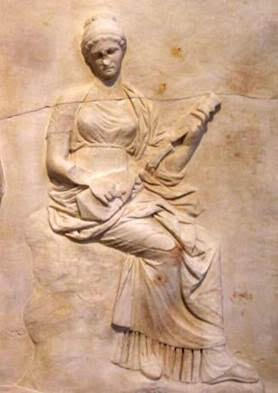 MÖ 5.yüzyıla ait kabartmada Yunan pandurası çalan bir kadın görüyoruz. Fotoğraf:www.pinterest.com