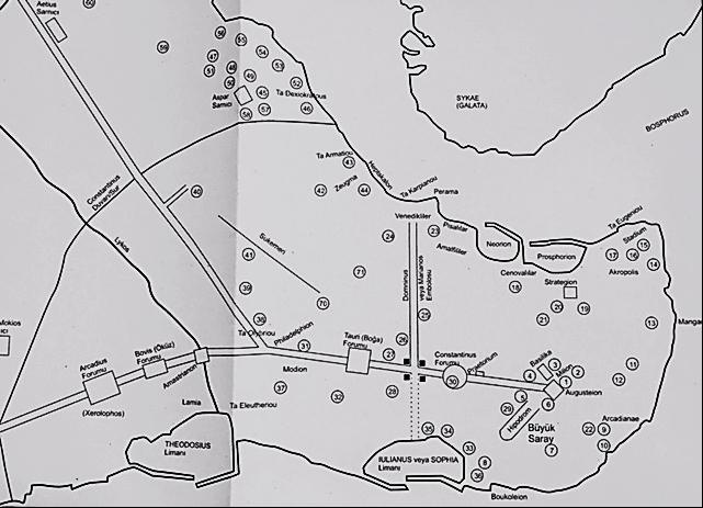 Haliç ve Marmara'daki limanları gösteren harita. Fotoğraf: Ortaçağ'da İstanbul, Paul Magdalino, Koç Üniversitesi Yayınları, 2012.