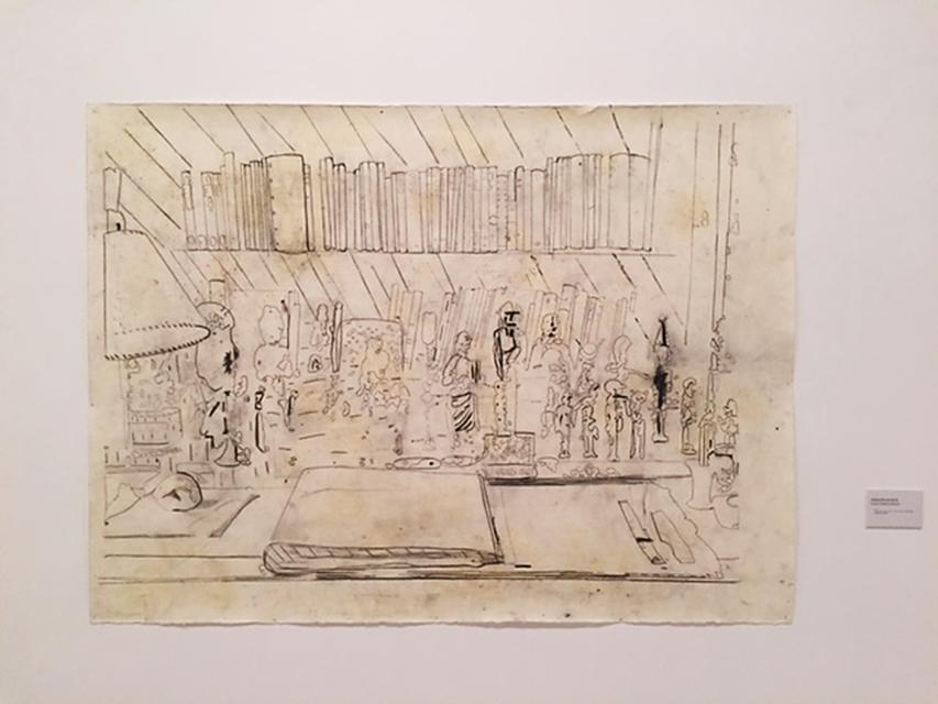 İsimsiz (Freud'un Masası), Ania Soliman, 2015. Kağıt üzerine kurşun kalem ve yakımlı süsleme. 14. İstanbul Bienali, Pera Müzesi. Fotoğraf: Füsun Kavrakoğlu