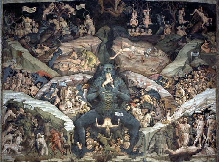 Cehennem, Giovanni da Modena, 1410. İtalya'nın Bologna şehrinde San Petronio Bazilikası'ndaki freskte Hz. Muhammed, tablonun orta-sağ üst bölümünde ismi yazılarak, çıplak olarak betimlenmiştir. Fresk, Katolik Kilisesi'nin İslam karşıtı tutumuna tanıklık eder. Bazilika bu betimlemeden ötürü en son 2002 ve 2006 yıllarında saldırıya uğramıştır. Fotoğraf:www.pinterest.com