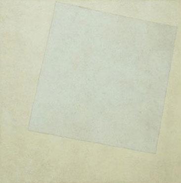 """Kazimir Malevich, Beyaz Üstüne Beyaz, 1918.   Kazimir Malevich (1879-1935), siyah ve renkli evrelerden sonra resimsel Suprematizm tarafından ulaşılan tam nesnesizlik evresine beyaz evre adını verir. Malevich'in beyaz düşüncesi Hiç'te, felsefi mutlaklıkla sonlanıyor. Malevich'e göre, önce takıntılarımızdan kurtulup, """"hiç"""" olmamız gerekir. 19. yüzyıl ortalarında Hiççilik, Nihilizm, Yokçuluk yükselen bir felsefi yaklaşımdır. Her şeyin anlamdan ve değerden yoksun olduğunu, hiçbir doğru, genel-geçer bilginin olamayacağını savunur. Toplumsal düzene baş kaldırmayı temsil eder. Yukarıdaki alıntılar, Malevich'in Sel Yayıncılık'tan çıkan İnsanın Esas Gerçekliği: Tembellik adlı eserindendir."""