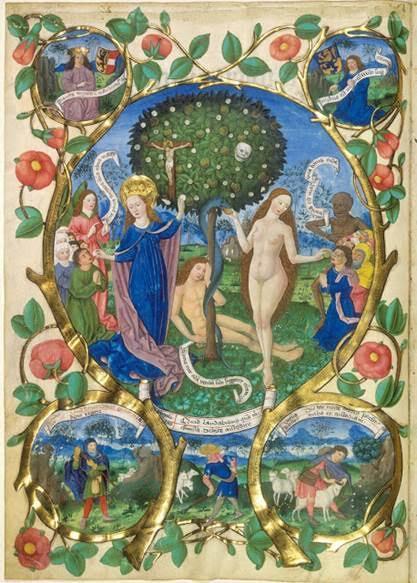 Hristiyanlıkta, Hz. Meryem ve İsa tasvirlerinde görülen nar sembolünün, kıyamet gününü ve cennetteki sonsuz hayatı simgelemek üzere kullanılmış olduğu düşünülmektedir. Yaşam ve Ölüm Ağacı, Berthold Furtmeyer, 1481. Fotoğraf:atxcatholic.com