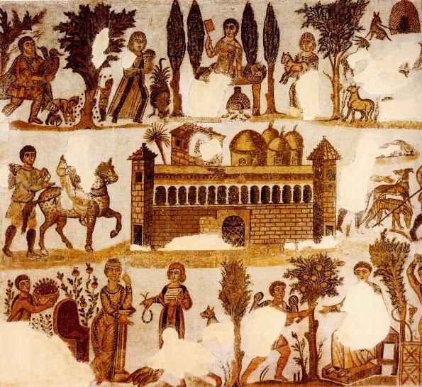 Lord Julius'un malikanesinin etrafında tarımsal faaliyeti gösteren mozaik tablo. Bu canlandırma ile mevsimlerin döngüsü, dolayısıyla ölümsüzlük betimleniyor. Sağ alt köşede narları görüyoruz. Kartaca, 5. yüzyıl sonu, Bardo Müzesi, Tunus. Fotoğraf:mickiekent.blogspot.com