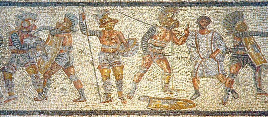 Trablus'ta Cemahiriye Müzesi'nde yer alan gladyatör konulu mozaik tablo. Fotoğraf:tr.wikipedia.org