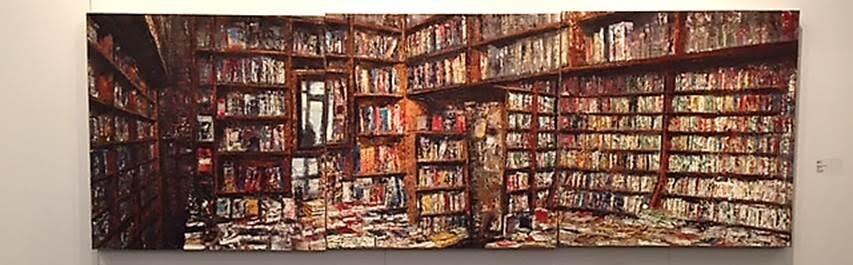 Contemporary İstanbul 2015'te eserleri sergilenen İtalyan sanatçı Massimo Giannoni'nin (1954-) favori konuları kitap evleri, tarihi kütüphaneler gibi sessiz alanlar ile dünya borsaları, şehir manzaraları gibi kaos, gürültü ve hareketi vurgulayan kompozisyonlardır. Kitaplar ve raflar ile kaosun içindeki sessizlik sanatçının ilgi alanıdır. Fotoğraf: Füsun Kavrakoğlu