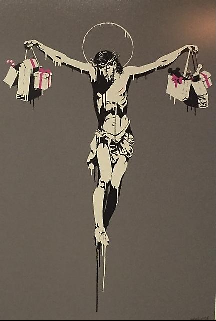 Christ with Shopping, Banksy, 2004. Global Karaköy, 2016. Fotoğraf: Füsun Kavrakoğlu