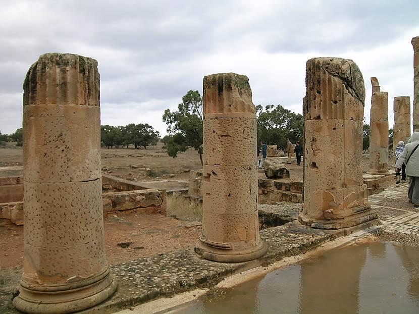Sütunlu Saray Tulmeyse'nin en süslü yapısı. İlk yapı MÖ 2. yüzyılda yapılmış. MS 115-17 yıllarında Yahudi ayaklanması sırasında yıkılmış, Romalılar tekrar yapmış. 600 metre karelik bir alanı kaplıyor. Havuzlu avlusu; avlunun kuzeyinde yemek ve toplantı odası olarak kullanılan Mısır Odası sütunlarla süslü ve tabanı mozaik kaplı imiş. Mozaik pano müzeye taşınmış. Avlunun güneyinde, Medusa Odası var. Bu odanın da mozaik döşemesi müzede idi. Fotoğraf: Füsun Kavrakoğlu