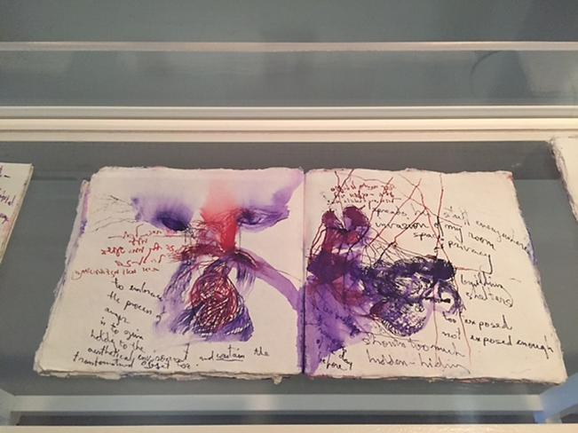 Bracha Ettinger, 14. İstanbul Bienali'ne 18 adet resim, tuttuğu defterler, çizimler ve diğer kişisel nesnelerden oluşan bir enstalasyon ile katıldı. Fotoğraf: Füsun Kavrakoğlu
