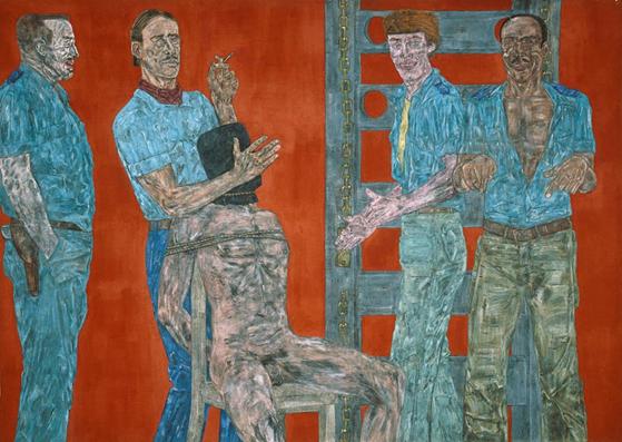 Interrogation II, Leon Golub, 1981. ABD'li Yeni Dışavurumcu ressam Leon Golub (1922-2004), savaş ve şiddet olgularıyla ilgilenmiş; savaşlar, işkenceler, şiddet ve saldırganlık, ölüm, ırksal eşitsizlik, cinsiyet belirsizliği ve baskı gibi temaları konu edinmiştir. Ölüm temasını, köpekler, aslanlar ve iskeletler gibi ölümü çağrıştıran imgelerle eserlerine yansıtmıştır. Fotoğraf:blog.gitmomemory.org