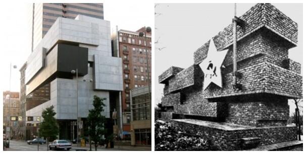 Zaha Hadid'in Cincinnati Contemporary Arts Center (2003) projesi, Mies van der Rohe'nin Berlin'de 1926'da yaptığı Rosa Luxemburg ve Karl Liebknecht Anıtı projesinin yeni yorumudur, deniyor. Fotoğraf: www.postpost.co