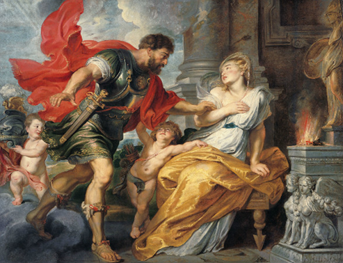 Mars ve Rhea Silvia, Peter Paul Rubens, 1620. Barok dönemin ustalarından Rubens (1577-1640), pek çok mitolojik öyküyü resimlerine konu almıştır. Vesta rahibesi Rhea Silvia iffet yemini etmiştir ve Tanrı Mars'a direnmektedir. Sağ yanındaki sunakta mitolojideki ebedi ateş yanmakta, resmin arka planında ise tapınak görülmektedir. Fotoğraf: leblebitozu