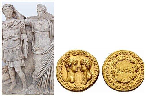 İmparator Neron'un annesi sayesinde imparator olduğu kanısı yaygındı. Bu kanıyı izleyen, yaklaşık MS 54–59 yıllarına tarihlenen heykelde Agrippina oğluna tacını giydirirken görülüyor. Oğlu tahta geçtikten sonra da devlet işlerine müdahalesi, oğlu ile yüz yüze betimlendiği dönemin sikkelerinde de barizdir. Fotoğraflar: wikipedia ve Ancient History et cetera