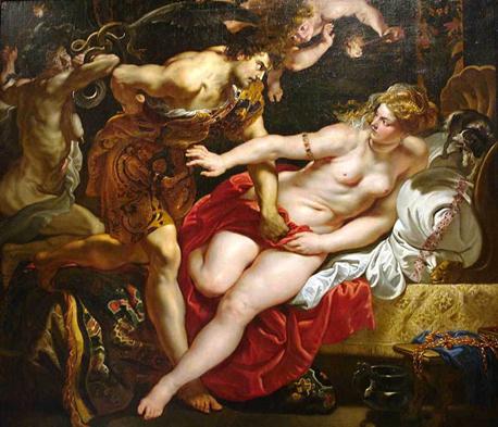 Tarquinius ve Lucretia, Peter Paul Rubens, 1610. İntihar eden Lucretia, filozof ve tanrıbilimci Aziz Augustinus  (MS 354-430) tarafından Hıristiyan kadınına örnek gösterilmiştir. Lucretia, belki de en çok tablosu yapılan kadın olmuştur. Fotoğraf: Serkan Hızlı