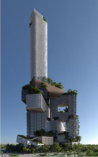Çok fonksiyonlu, yüksek bir binanın nasıl ekolojik ve sosyal bir çözüm sunabileceğini ortaya koyan, Endonezya'nın başkenti Jakarta'da Hollandalı mimar Winy Maas (1959-) tarafından 2012'de projelendirilen Peruri 88'in çıkış noktası farklı biçime sahip, birçok apartman bloğunu üst üste yığarak yoğunluğu tek yerde toplayıp, sosyal, yeşil bir kent kurmak olmuş. Tasarımları birbirinden farklı, ama birbirinin üzerinde konumlanan yapıda; konut, ofis, otel, alışveriş, düğün, cami, tiyatro bölümleri yer alıyor. Proje, dikey bir kent olarak kurgulanmış. Fotoğraf:archinect.com
