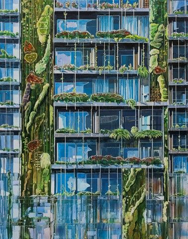 Burcu Perçin'in 2017 yılında açtığı Yeşili Doldurmak adlı sergisinden. Sanatçı insanın doğayı önce yok edip sonra inşa ettiğini, ona yeniden şekil verdiğini, yeşili bir dolgu malzemesi olarak kullanarak büyük şehirlerde yapay peyzajlar ürettiğini ve bunların estetik açıdan sorgulanmaya açık olduğunu söylüyor. Fotoğraf: Sergi Rehberi