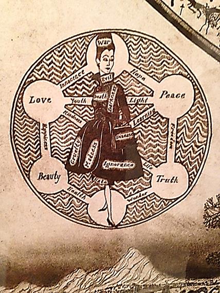 Hiçbir Yerin Haritası, Grayson Perry, 2008. Immanuel Kant'a (1724-1804) göre kadın, güzelliğin simgesiydi. Yaşamdaki rolü, çiçek buketi yapmak ve erkek düşüncesinin hizmetinde olmaktı. Fotoğraf: Füsun Kavrakoğlu