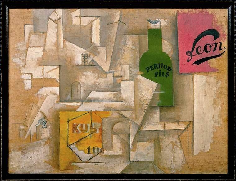 Posterlerle Peyzaj, Pablo Picasso, 1912. Picasso, popüler bir küp bulyon markasının kolaylıkla akılda kalıcı KUB logosunu kolajında kullanır. Fotoğraf: Walker Blogs - Walker Art Center