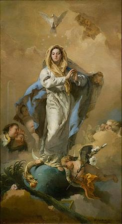 Meryem'in Günahsız Gebeliği, Giambattista Tiepolo, 1767-1769. Meryem Ana'nın günahsız bir biçimde İsa peygambere gebe kalışını betimleyen tablodaki her ayrıntı İncil'deki bir ayrıntıyı betimliyor. Hz. Meryem, insana ilk günahı işleten yılanın üstüne basmakta. Fotoğraf: Çok Gezen Çocuk
