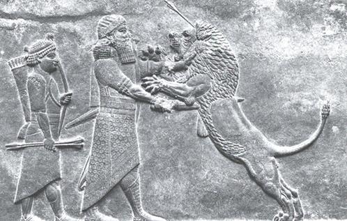 Asurbanipal Aslan Avında. Asur'da aslan avı iktidardaki monarşinin halkı için mücadelesinin ve halkına karşı olan koruma güdüsünün simgeleşmiş halidir. Bu rölyefin, Asurbanipal'in (MÖ.668 – 631 ) Ninova'daki (Kuzey Irak) sarayı için yapıldığı düşünülüyor. Eser, British Museum'da sergilenmektedir. Fotoğraf: Edebiyat ve Sanat Akademisi