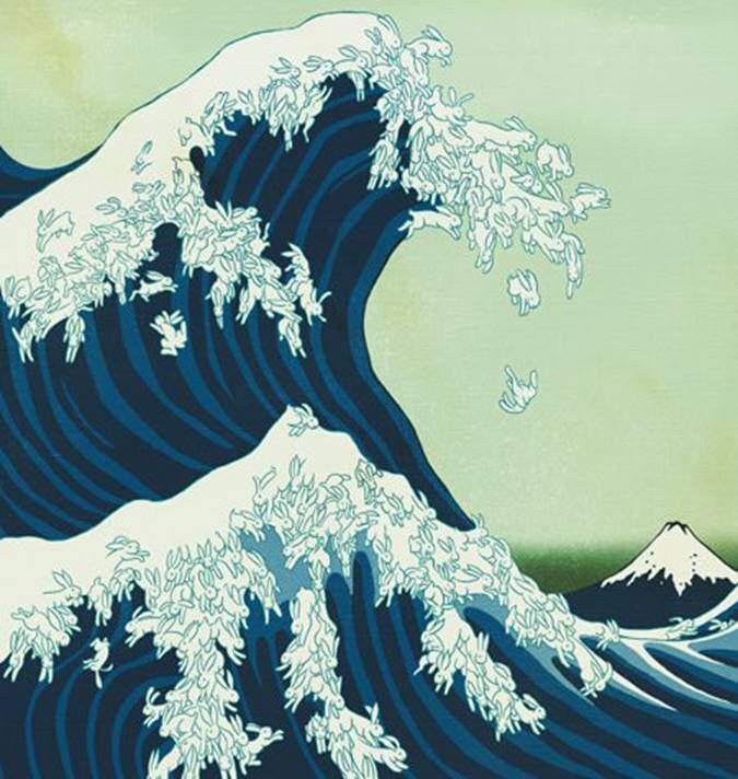 Büyük Tavşan Dalgası, Katsushika Hokusai. Bu ünlü tablonun birçok replikası ve yeniden yorumlamaları da yapıldı. Tablonun günümüz mangasının gelişiminde büyük etkileri olduğunu ve Avrupalı büyük sanatçıları da etkilediğini söylemek gerek. Fotoğraf: Kitaplık Kedisi