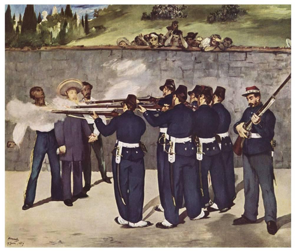 İmparator Maximilian'ın İnfazı, Édouard  Manet, 1868-69 (üçüncü ve son versiyon). Eser, I. Maximilian'ın Meksikalı Cumhuriyetçiler tarafından kurşuna dizilerek infaz edilmesini anlatmaktadır. Maximilian, üç yıl boyunca Fransa İmparatoru III. Napolyon'un ordularının koruması altında Meksika'yı yönetmişti. Napolyon Maximilian'a verdiği sözleri tutmayarak ordusunu geri çekince Cumhuriyetçiler yönetimi ele geçirdiler ve 1867 yılında Maximilian ve yardımcılarını infaz ettiler. Manet'nin amacı Meksika'yı değil Fransa'yı suçlamaktır. Cumhuriyetçilerin bir imparatoru infaz etmesini gösteren bu tablo Fransa'da hoş karşılanmadı ve sergilenmesine izin verilmedi. Bu nedenle Manet (1832-1883), tablosunu bir süre kendi evinde sergiledi. Manet'nin Goya'nın Madrid'de 3 Mayıs 1808 isimli tablosundan etkilendiği, bu eserin de Picasso'nun Guernica adlı tablosuna esin kaynağı olduğu söylenir. Fotoğraf: leblebitozu
