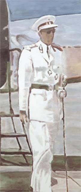 Güzel Beyaz Adam, Luc Tuymans, 2000. Luc Tuymans'ın (1958-) 1980 ve 1990'lardaki eserlerinde devamlı beliren tema, Faşizmin genelde Avrupa kültürüne ve özelde ülkesi Belçika'ya etkisidir. 2001 Venedik Bienali'nde sergisinin adı Güzel Beyaz Adam'dır ve bu beyaz adam o dönemdeki adıyla Belçika Kongo'suna bağımsızlığını almadan birkaç yıl önce resmi bir ziyarette bulunan Belçika Kralı Baudouin'dir. Kral, beyaz bir askeri tören üniforması giymektedir. Mesafeli duruşuyla bu figür, sömürgeci bir devletin temsilcisidir. Bağımsızlık sonrası Demokratik Kongo Cumhuriyeti adını alan ülkenin ilk başbakanı Patrice Lumumba, 1960 yılında başbakanlık makamına gelmiş, 1961 yılında suikasta kurban gitmiştir. Tuymans'ın dizileri, Belçika ve Batı'yı ülke üzerindeki denetimlerinden feragat ettiklerini ilan ettikleri halde, ülkenin siyasi hayatını karıştırmakla suçlamaktadır. Sanatçı, seyircinin kendi yorumunu getirmesi için alan bırakmak amacıyla eserlerini genellikle kırpılmış veya kısmen resmetmiştir. Fotoğraf: Image & Narrative