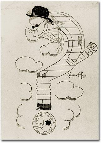 César Abin tarafından yapılmış bir James Joyce çizimi. Fotoğraf: James Joyce Music