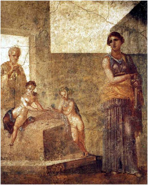 Medea, çocuklarını öldürmeden önce, Pompei'de Castor'un Evi'ndeki fresk, MS 62-79. Günümüzde Napoli Ulusal Arkeoloji Müzesi'nde sergilenmektedir. Medea Yunan mitolojisinde bir karakterdir. Euripides'in eserinde kocası tarafından aldatılan Medea, kocasından intikam almak için çocuklarını öldürür. Fotoğraf: Mythology